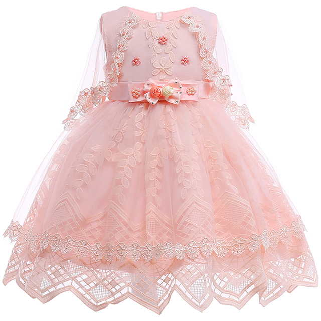 2018 Baru Musim Panas Bayi Gadis Renda Bunga Bordir Tutu Putri Pernikahan  Gaun untuk Gadis Pesta 16db6b0bc9