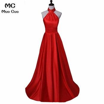 Elegant 2018 Red Long Party Dresses Evening Dresses Long Satin Sleeveless Halter Formal Evening Party Dress for Women