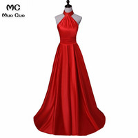 Elegant 2018 Red Long Party Dresses Evening Dresses Long Satin Sleeveless Halter Formal Evening Party Dress for Women