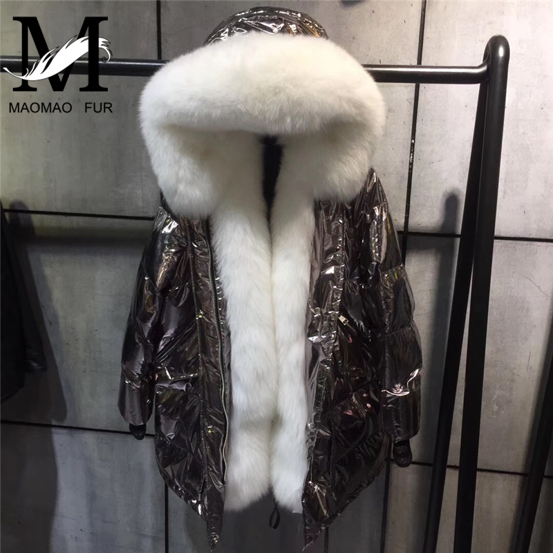 Hooded Winter   Down     Coat   Jacket Thick Warm Women Long Parka Real Fox Fur Collar Silver Outerwear