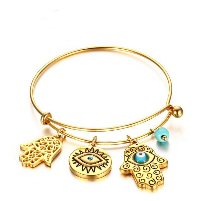 Stunning Yellow Gold Color Evil Eyes Cuff Bracelet Stainless Steel Metal With Blue And