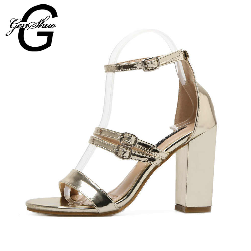 f9e4d032f2 Detail Feedback Questions about GENSHUO Women Open Toe Strappy Ankle Strap  Gold Sandals Block Thick High Heel Shoes Summer Sandals Silver Size 40 on  ...