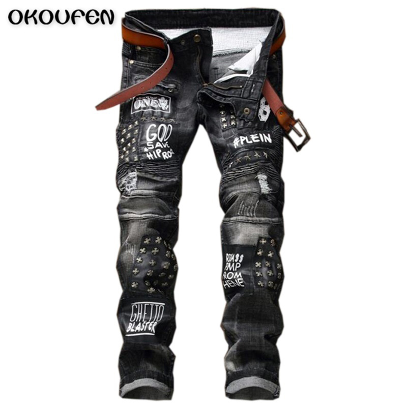 Brand Clothing High-quality Fashion Personality Stretch Jeans America Style Draped Patchwork Rivets Locomotive Jeans Men NZK65