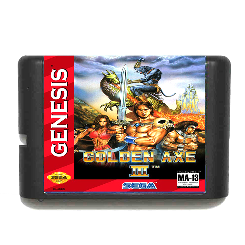 Golden AXE III for 16 bit Sega MD Game Card for Mega Drive for Genesis Video Console