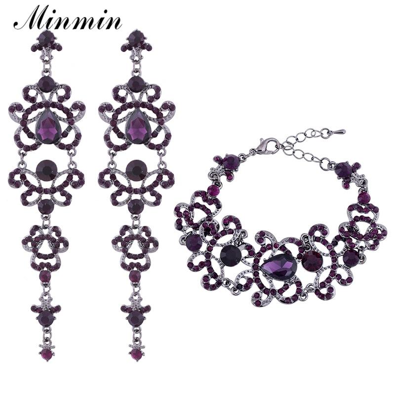 Minmin paars kristal bruids sieraden sets grote teardrop oorbellen armbanden sets bruiloft sieraden sets voor vrouwen EH168 + SL029