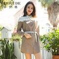 Veri Gude Women Long Sleeve Shirtdress Plaid Dress Contrast Color Patchwork