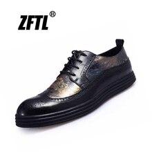 ZFTL Men dress shoes Bullock carved man formal shoes Genuine leather Platform shoes male casual lace-up Business shoes   0101 недорого