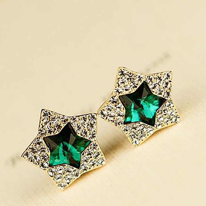 Full Rhinestone Double Star Stud Earrings For Women Gold Crystal Cubic Zirconia Earring Female Fashion Jewelry Accessories