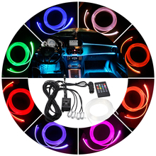 RGB Ambient Light Car LED Atmosphere Light 8 colors Optical Fiber Bright Remote Control Lamp For Car Interior Decorative Light 6x led strips motorcycle car styling air atmosphere interior light rgb 16 color ambient infrared remote wireless music control