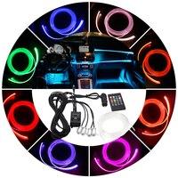 RGB Ambient Light Car LED Atmosphere Light 8 colors Optical Fiber Bright Remote Control Lamp For Car Interior Decorative Light