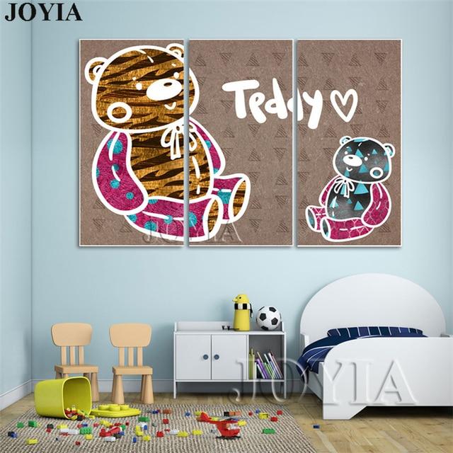 Cartoon Rabbit Teddy Bear Wall Paintings Kids Room Decor Girl Boy Art  Pictures Nursery Toddler Bedroom Anime Poster Large 3 Piec