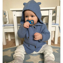 2016 New Kids Sweater Autumn Winter Children Hooded Toddler Jacket Coat Girl Boy Knitted clothes Baby Cotton Outwear chandail