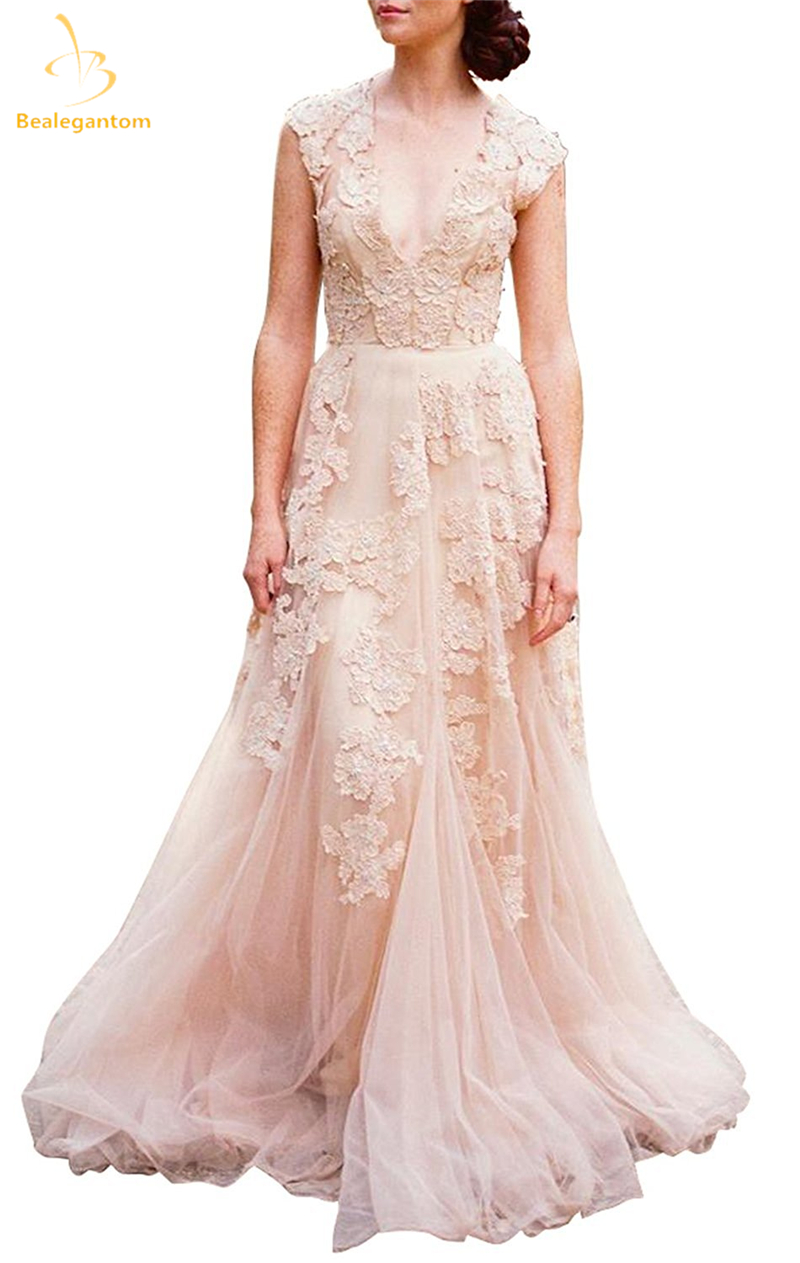 Bealegantom new vintage 2017 lace wedding dresses for Champagne colored wedding dresses with sleeves