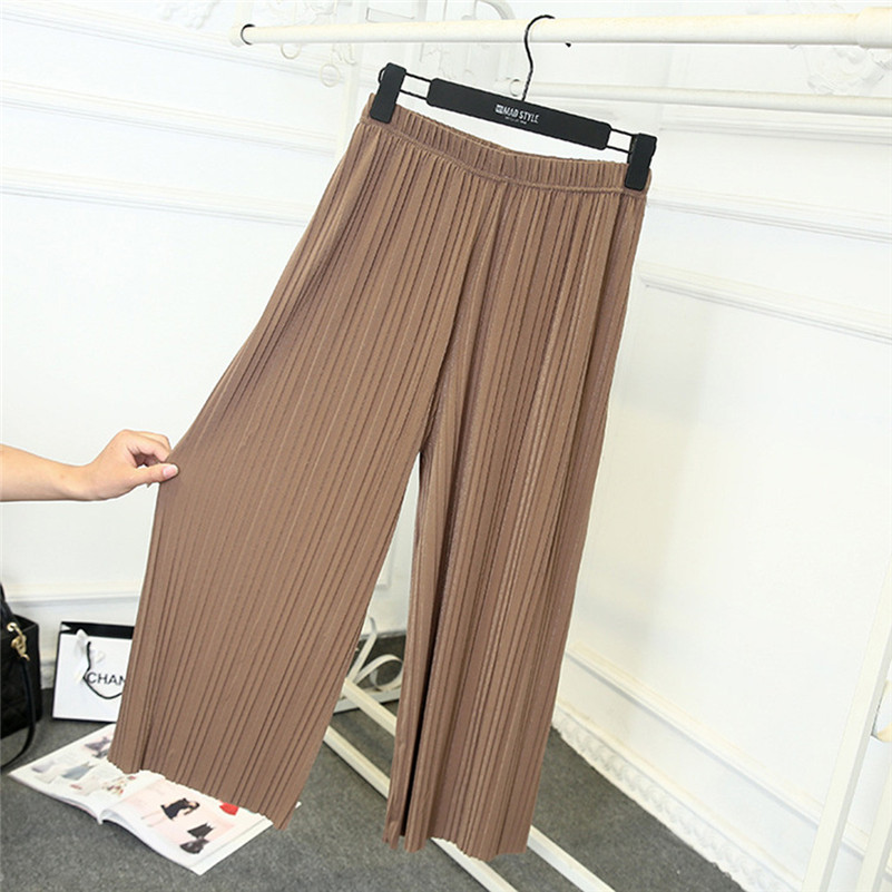 Womens Pure High Waist Pleated   Pants     Wide     Leg   Palazzo Elastic Trouser femme   wide     leg     pants   E1