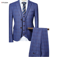 YFFUSHI 2018 Men Suit Men Grey Black Navy Classic Plaid Design Tuxedo Wedding Suits for Men England Style Slim Fit
