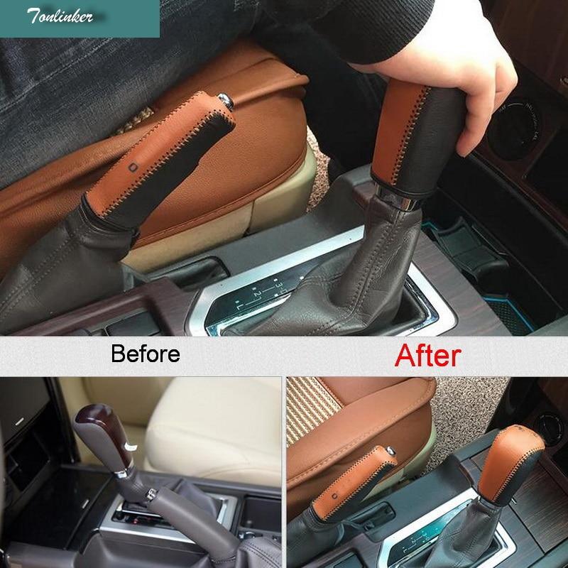 Tonlinker чехол стикер для Toyota PRADO 2010-16 Стайлинг автомобиля 1 шт. натуральная кожа переключение передач воротников или ручной тормоз чехол
