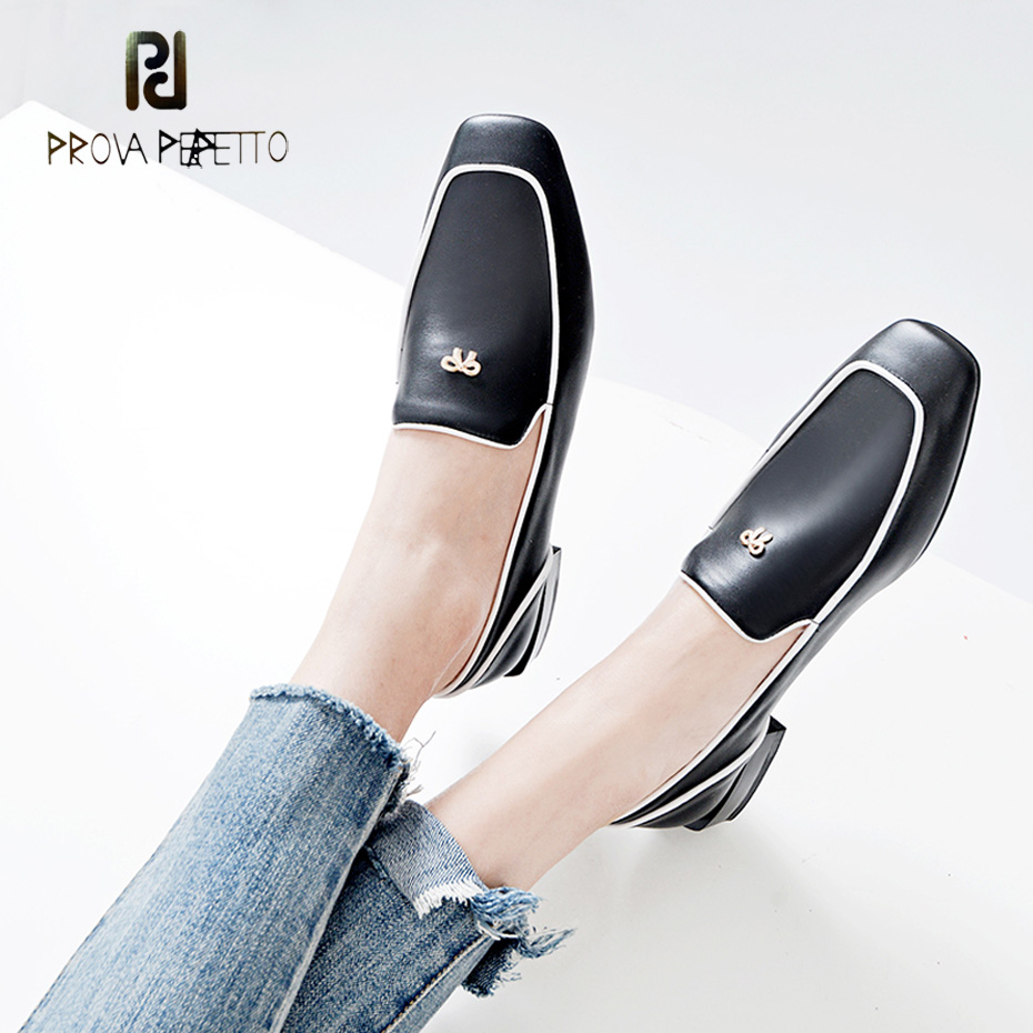 Prova Perfetto british style genuine leather casual shoes females metal bowtie decor square toe low heel single shoes women prova perfetto genuine leather lace up square high heel women pumps pointed toe rivet gladiator shoes british style single shoes