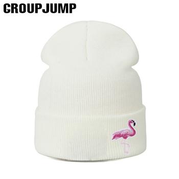 Moda dzianiny Skullies czapki Flamingo czapki zimowe kobiety czapka z dzianiny zimowe czapki grube ciepłe czapki damskie czapki dziewczyny czapki tanie i dobre opinie GROUPJUMP COTTON Dla dorosłych Na co dzień Cartoon Skullies czapki Zhejiang China Black Gray White Beige Head circumference 55-61cm