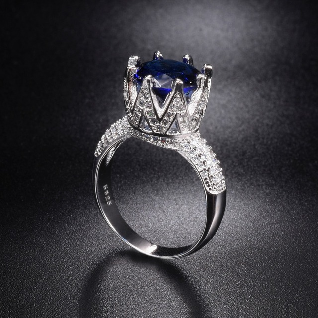 Sapphire Wedding Rings.Us 15 93 36 Off Promotion Solid 100 925 Sterling Silver Wedding Rings Crown Jewelry For Women 8ct Blue Sapphire Engagement Ring Size 5 10 In