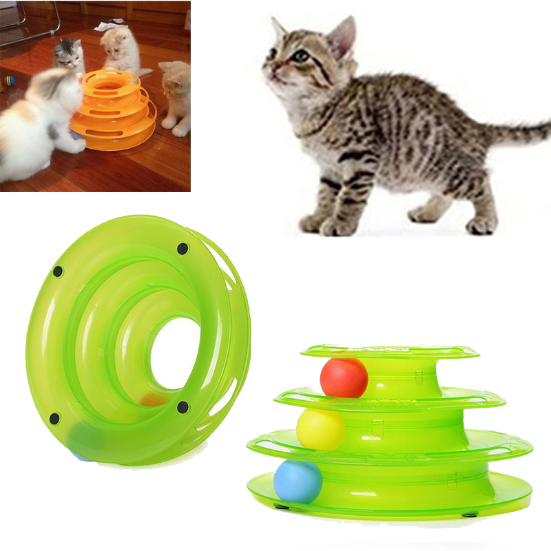 Plastic Three layer Tower Disc Cat Toy For Cats Juguete Gato Kitten Toys Pet Supplies