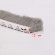 10meters Self Adhesive Felt Draught Excluder Wool Pile Weatherstrip Door Window Brush Seal Strip 6 x 12mm 6mm  Gray