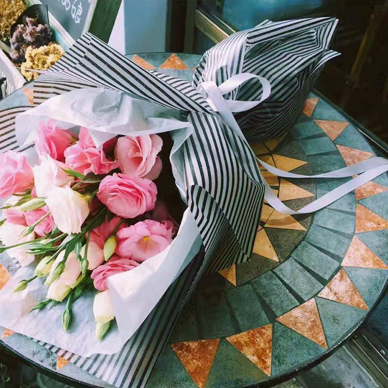 10 Sheets Flower Gift Wrapping Paper Bouquet Waterproof Packaging Craft Paper Material Arthur Straight Lines Plastic Paper