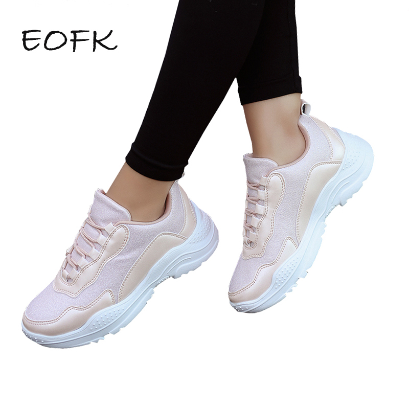 EOFK Women Sneakers Shoes Woman F Thick Bottom New Spring Autumn Fashion all Match Women Casual Shoes Women's Pink Sneakers sneakers woman 2018 spring and autumn season new pattern korean plate thick bottom chalaza casual old women s shoes