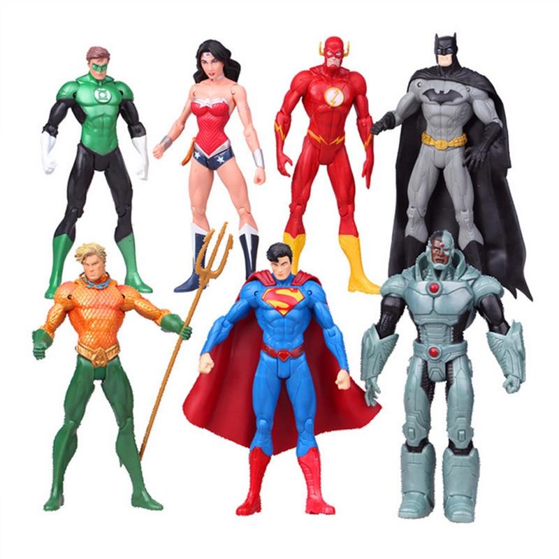 17cm 7pcs/set Justice league superman Wonder flash Lantern Aquaman movable PVC Action Figure Collectible Model Toys dc comics superheroes toys 7pcs set superman batman wonder woman the flash green lantern aquaman cyborg pvc figures 16cm