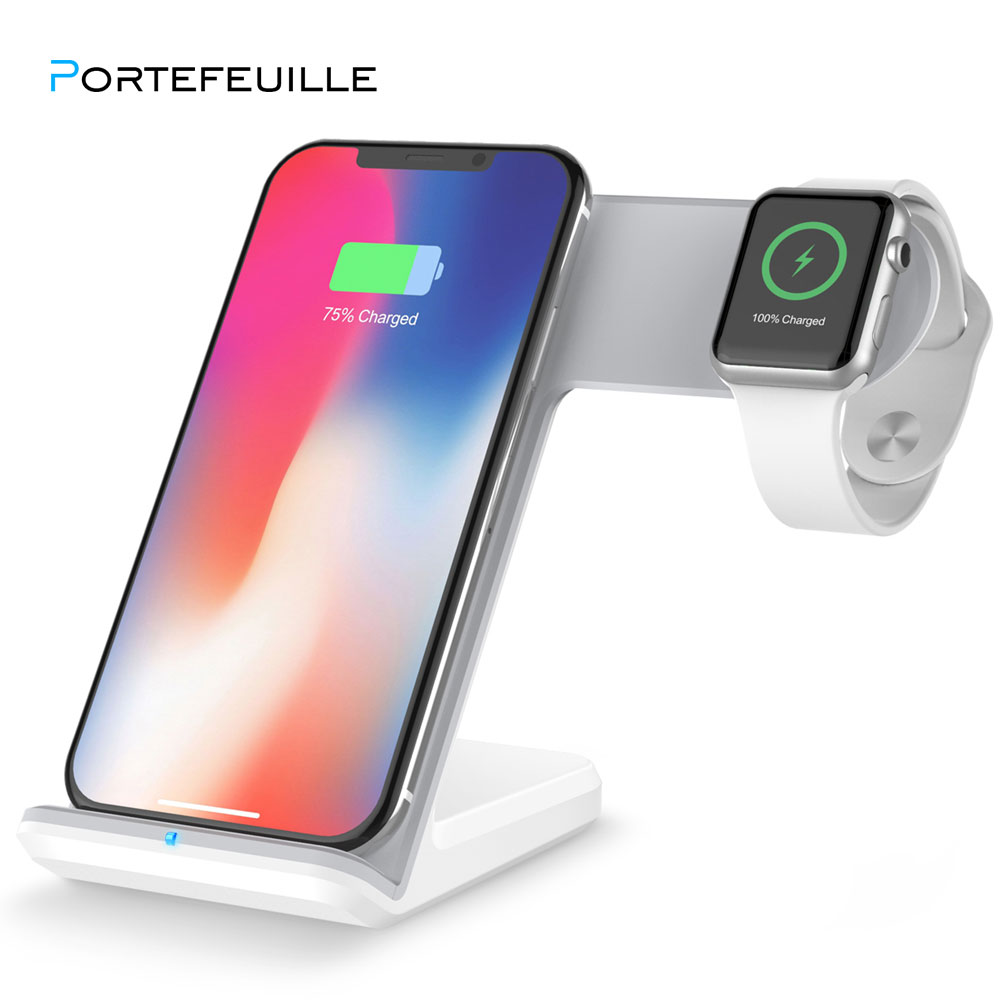 Portefeuille For Apple Watch 4 3 2 Charger Dock QI Wireless Charging Stand Holder For iPhone X 8 Plus XS Max XR 11 Pro 8plus-in Phone Holders & Stands from Cellphones & Telecommunications