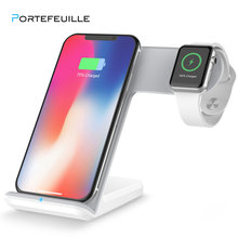 Portefeuille for apple watch 4 3 2 충전기 도크 qi 무선 충전 스탠드 홀더 iphone x 8plus xs max xr 11 pro 8plus