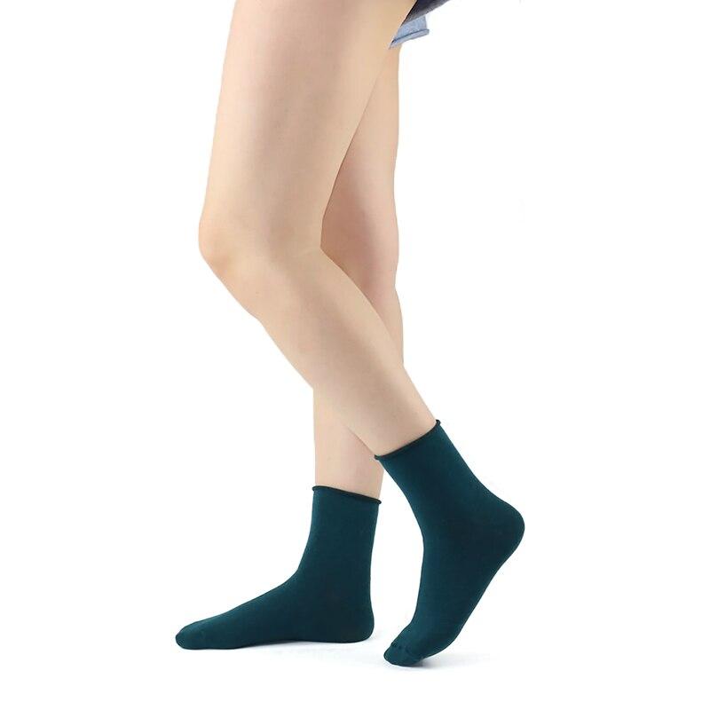 5 Paar / Lot Baumwolle Damen Socken Vintage Solid Spring Fall Mode - Unterwäsche - Foto 6