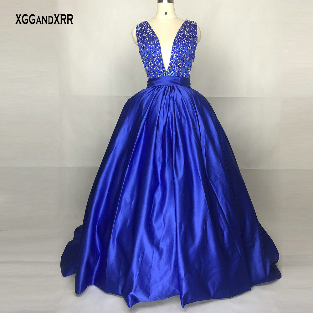 New Arrival Sexy Deep V Neck Ball Gown   Prom     Dress   Shining Beading Sleeveless Court Train Formal Evening   Dress   Long Plus Size