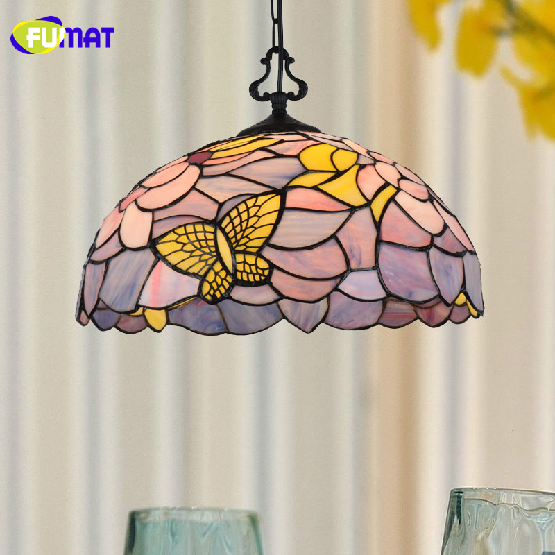 FUMAT Stained Glass Pendant Lights Butterfly Art Glass Pendant Light For Bed Room Living Room LED Pendant Light Fixtrures fumat stained glass pendant lamp art butterfly glass shade lamps living room bed room multi color indoor lamp led pendant lights
