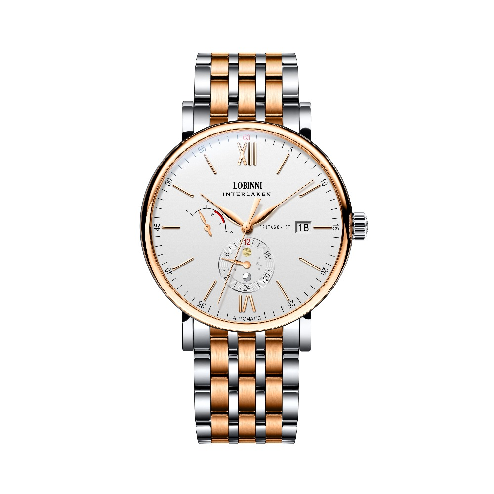 LOBINNI Mens Waterproof Leather/Steel Strap Month Week Date Dial Business Automatic Mechanical Wrist Watch - RosegoldLOBINNI Mens Waterproof Leather/Steel Strap Month Week Date Dial Business Automatic Mechanical Wrist Watch - Rosegold