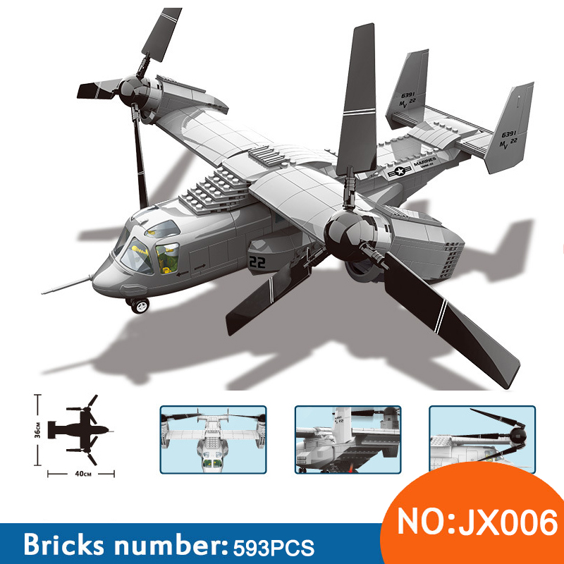 Wange JX006 Military series The US V-22 OSPREY TILTRTOR AIRCRAFT 1:44 model Building Blocks Classic aircraft toys For ChildrenWange JX006 Military series The US V-22 OSPREY TILTRTOR AIRCRAFT 1:44 model Building Blocks Classic aircraft toys For Children