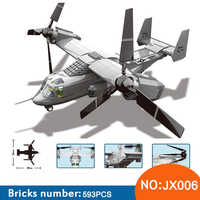 Wange JX006 Military series The US V-22 OSPREY TILTRTOR AIRCRAFT 1:44 model Building Blocks Classic aircraft toys For Children