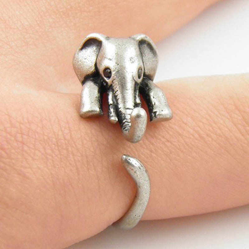 2018 Fashion Retro Cute Antique Silver Animal Adjustable Open Ring Elephant Statement Wrap animal ring 3D animal ring