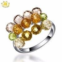 Hutang Natural Multi Color Gemstone Beads Solid 925 Sterling Silver Rings Fine Jewelry Peridot Lemon Quartz Unique Design Ring