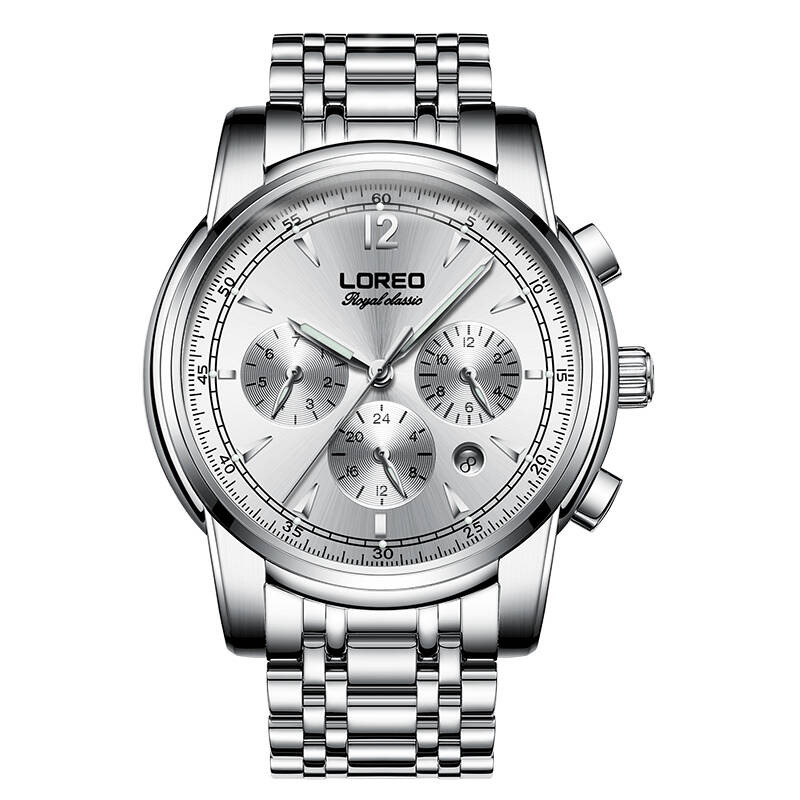 LOREO 6105 Germany watches men luxury brand automatic mechanical sapphire luminous silver stainless steel relogio masculino цена и фото