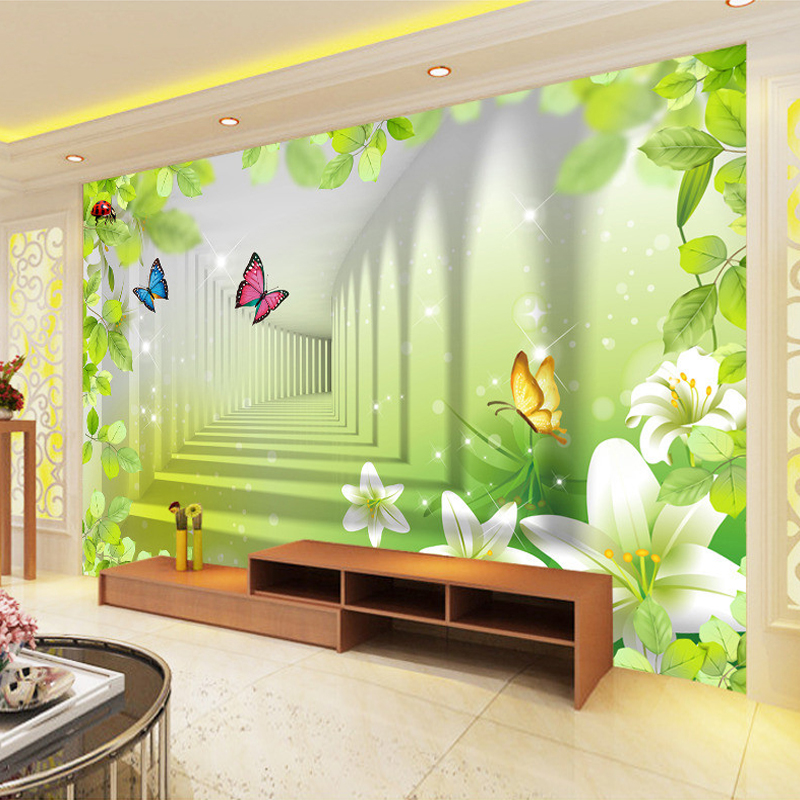 Custom printed wallpaper lily butterfly green leaf modern for 3d mural painting tutorial