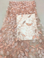 5 yards light pink heavy embroidered lace fabric with 3d flowers, peach pink lace fabric with 3d leaves, tulle lace