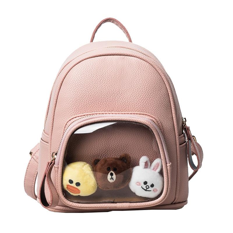 cute women new backpack cartoon line bear female summer doll backpack adorable small casual satchel 3