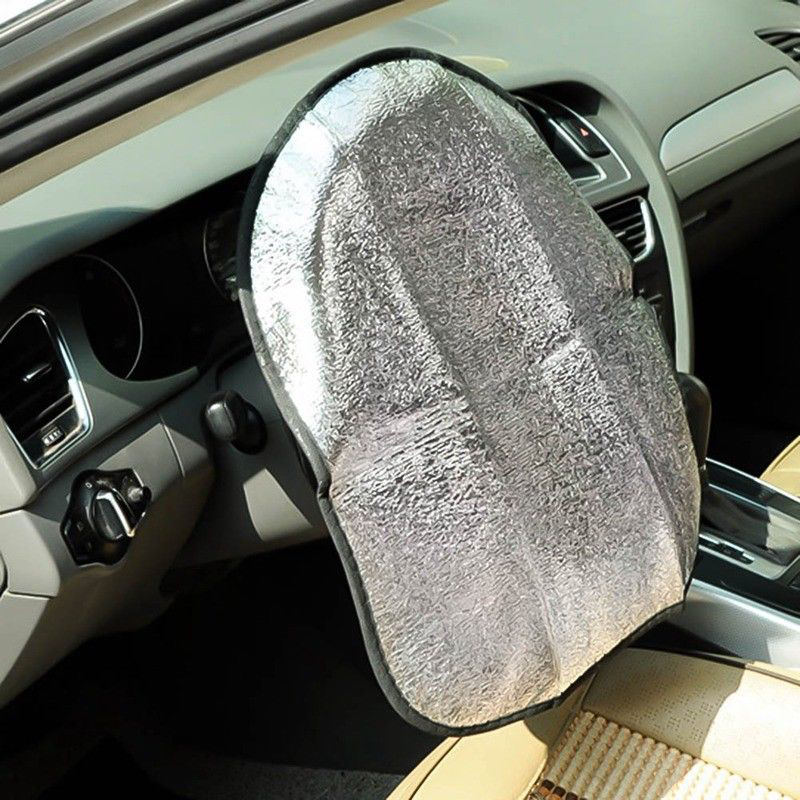 1pc Silver Car Cool Grip Steering Wheel Cover Uv Reflective Sun Shade Heat Protector Accessories Parts Suitable For Cars