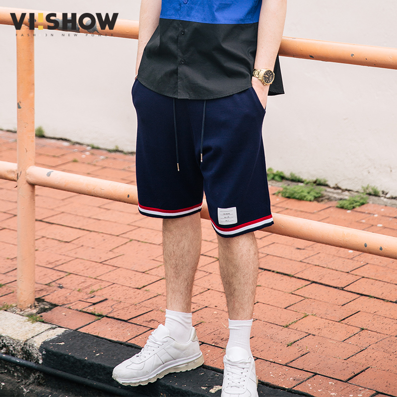 VIISHOW Brand Clothing Mens Shorts Summer Fashion Men Casual Striped Cotton Short Pants Drawstring Shorts For Men KD1269172