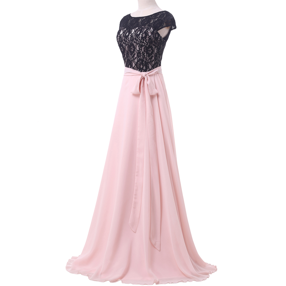 Grace Karin Long Prom Dresses With Sleeves Chiffon Lace Black Pink ...
