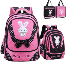 2017 neue Ankunft Kinder Rucksäcke Kleinkinder Leinwand Cartoon Kaninchen Bogen Schultaschen Orthopädische Rucksack für Mädchen
