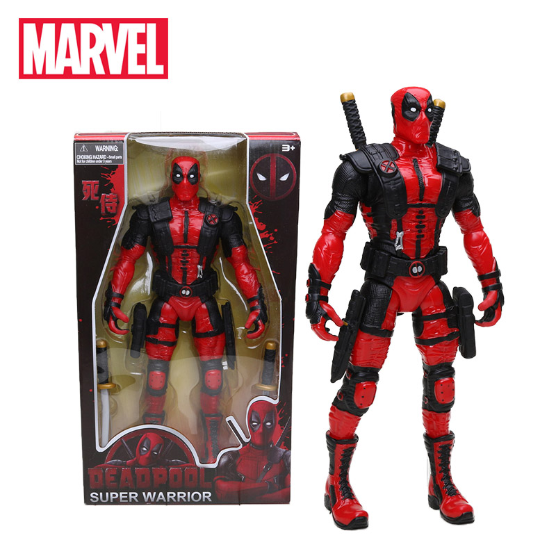 New 33cm Marvel Toys Deadpool Figure Bobble-Head 1/10 Scale Painted Wade Winston Wilson Superhero Collectible Model Dolls Toy(China)