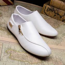SK 2019; обувь в горошек; мужская Белая обувь в английском стиле; дышащая модная обувь без застежки; Повседневная кожаная мужская обувь; лоферы