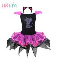 Iiniim ילדים בייבי בנות אגלי שמלת טוטו עם סרט אוזן חתול מסיבת קרנבל מסיבת תחפושות מפוארת ביצועי בלט Dancewear