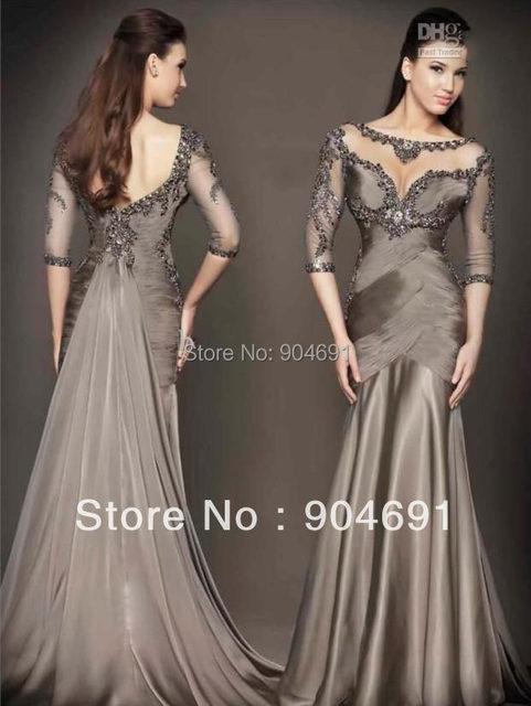 6169d1093260 Evening Dress Coffee Brown Satin Formal Dress 3 4 Sleeve Long Bridal  Reception Dresses E52704